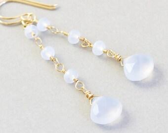 Blue Chalcedony Dangle Earrings, Powder Blue Earrings, Handmade