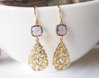 Drop Earrings, Dangle Earrings, Bridesmaid Earrings,Wedding jewelry, Amethyst Purple Mauve, Paisley Filigree, Gold Teardrop, Jewelry Gift