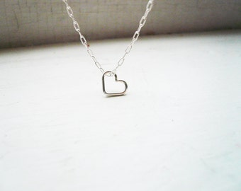 Tiny Silver Floating Heart Necklace in Sterling Silver - Sweet, Dainty Valentines Day Gift