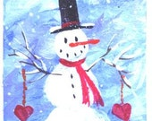 Snowman Two Hearts  miniature Valentines Day painting  Jim Smeltz