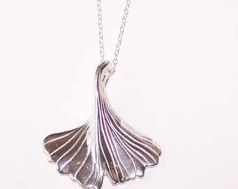 Sterling GINKO LEAF Pendant and Chain -  Plant, Garden, Herb