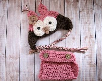 Crochet Baby Hat, Baby Diaper Cover Set, Baby Girl Owl Hat, Baby Owl Hat, Newborn Owl Hat, Infant Owl Hat, Crochet Owl Hat, Photo Prop Pink