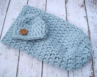 Crochet Baby Hat, Baby Cocoon, Crochet Cocoon, Cocoon and Hat, Newborn Cocoon, Baby Cacoon, Infant Cocoon, Boy Cocoon, Blue