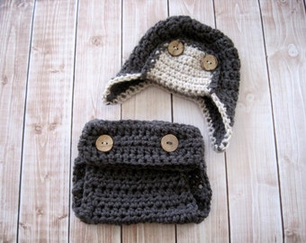 Newborn Boy Outfit, Baby Boy Clothes, Infant Diaper Cover Set, Baby Boy Photo Outfit, Newborn Aviator Hat, Baby Boy Take Home Outfit, Gray