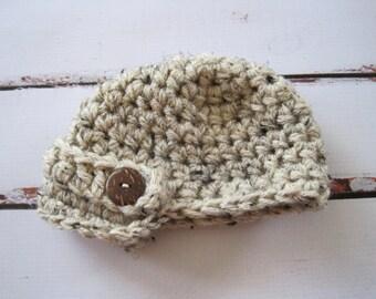 Baby Boy Newsboy Hat, Newborn Boy Beanie, Infant Boy Crochet Hat, Baby Newsboy Cap, Newborn Winter Hat, Brimmed Baby Hat, Newborn Hat Props