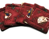 Handmade Quilted  Coasters set of 4 Coffee Brown Cups Beans