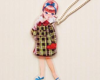 Karen Paper Doll Laminated Necklace