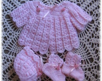 Crochet Pattern for Sweater Set for Baby----Sweet Pea Baby Sweater, Bonnet and Booties