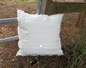 White Linen Pillow Throw Decorative Pillow Raggedy Deconstructed French Country French Farmhouse Torn Edge Accent Pillow