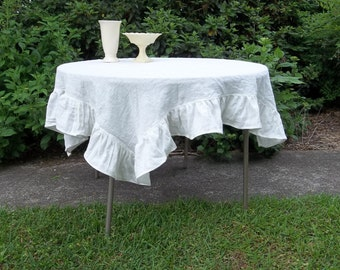 READY to SHIP Linen Ruffled Tablecloth White Linen Handmade Wedding Table Settings French Country Dining Cottage Chic Round Tablecloth