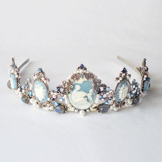 SALE - Drusilla Blue tiara - Gothic headpiece, marcasite, blue topaz, labradorite, cameo, pearls, rhinestones
