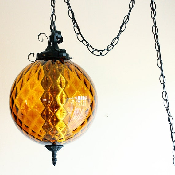 Hanging Lamp With Pull Chain: Vintage Hanging Light Hanging Lamp Swag Lamp Amber Globe