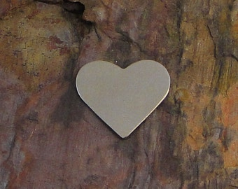 """10 Deburred 20G Nickel Silver 3/4"""" CLASSIC HEART Stamping Blanks"""
