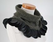 Brown crochet cowl with 99 black leather circles J986