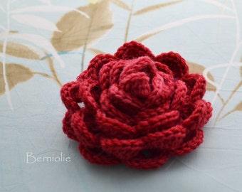 Crochet flower brooch, shawlpin, red, valentine I867