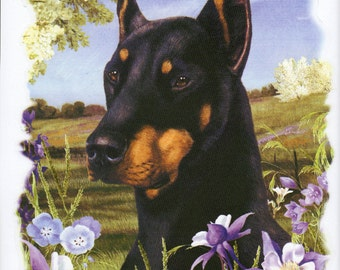 "DOBERMAN (cropped) Dog with Flowers on ONE 18"" X 22"" Fabric Panel for Quilting and Sewing. Actual picture is 9"" x 11"" on white background."