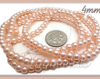 200 Soft Peach Glass Pearl Beads 4mm GPSP1