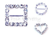 Set of FIVE Small Heart, Circle or Square  - for 3/8 ribbon