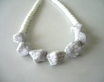 white necklace retro style