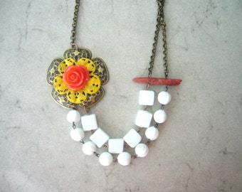 white chunky flower necklace with coral