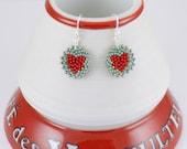 Beadwoven Heart Mandala Earrings ( red / seafoam green ) / Happy Colors / Gift for Her - - - sterling silver earrings