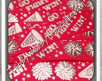 "Glitz & Bling Cheer ""Go Fight Win"" Red 5 yds 7/8"" TWRH"