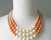 SALE (6 left!) Color Block Triple Decker Necklace - in Golden/Coral Mix - 3 Strand Colored Pearl Necklace