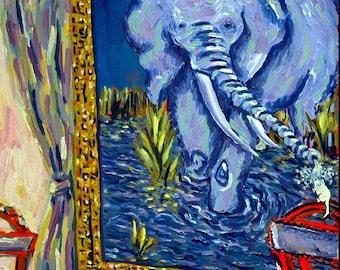 ELEPHANTS best friend  Art Tile Coaster JSCHMETZ modern abstract folk pop art gift