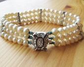 RESERVED 50s Marvella Three Strand Pearl & Rhinestone Bracelet