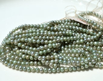Small Celadon Freshwater Potato Pearls   FULL STRAND