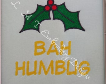 Bah Humbug Machine Embroidery Designs - 2 sizes