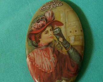 1973 coca cola advertising pocket mirror