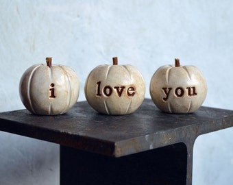 White i love you pumpkins // 3 Word Pumpkins // Gift ideas // gifts with love text wording // thanksgiving gift