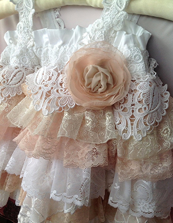 Flower Girl Vintage Lace Dress Wedding Easter Sunday Dress  Ivory Lace Vintage Flower Girl Dress