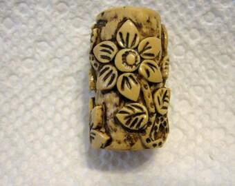 Dreadlocks  Bead Ivory Flowers You Choose Hole Size