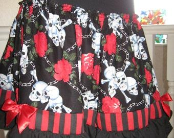 Black,White,red Skulls,stripes,Spots,Lolita,Punk,Boho,Rock,Goth Skirt, all sizes Sequoia