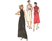 Vintage Sewing Pattern 70s Designer Dress Evening Gown Cutaway Halter Dress Knee Length Maxi Dress bust 34 Size Medium Simplicity 9227