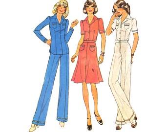Vintage Sewing Pattern 1970s Blouse Skirt Pants Suit Uncut bust 31 1/2 size 8 Simplicity 6860