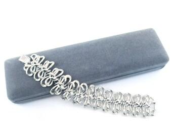 Vintage Coro Bracelet 1960s Silver Signed Costume Jewelry Original Box