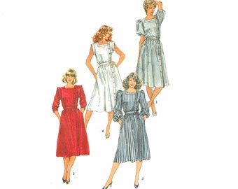 Vintage Sewing Pattern 80s Asymmetrical Puff Sleeve Dress Uncut Size 16 Large Bust 38 Simplicity 6212