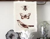 Flight Series C - Parchment Print bee art butterfly bird neutral fine art print