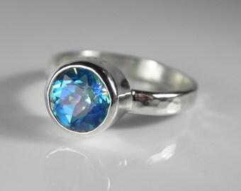 Mystic Topaz Ring - Blue Topaz Ring - Gemstone Engagement Ring - Seascape Mystic Topaz Solitaire - Sterling Silver Mystic Topaz Ring