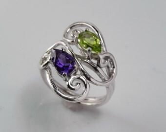 Amethyst and Peridot Ring - Gemstone Wave Ring - Sterling Silver Swirl Amethyst Peridot Jewelry - Birthstone Ring