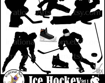 Ice Hockey set 1 - 9 png silhouettes digital clipart graphics + 1 colored skate goalie shooter puck hockey stick [ INSTANT DOWNLOAD ]