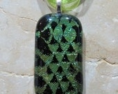 Fused Glass Pendant with ribbon necklace: Sidewinder