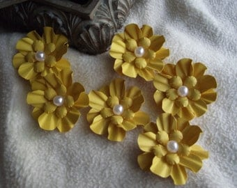 Scrapbook Flowers...6 Piece Set of Very Lovely Sunny Yellow Camilla Scrapbooking Paper Flower Embellishments