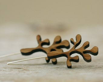 Frond Earrings - Bamboo and Sterling Silver