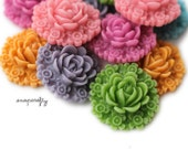 4pc you choose color victorian resin flower cabochon, 23mm, make resin flower hair pins, rings, pendants