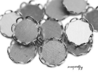 20pc 10mm lace edged silver tone cabochon settings / cameo setting / bezel, frame, lead-free, nickel-free