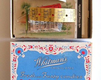 Vintage Paper Ephemera in Whitmans Fresh and Fussy Chocolates Box